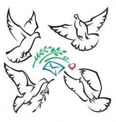 Set of pigeons vector