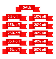 set of red sale ribbons with different discount vector image