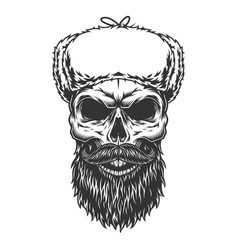 skull in the ushanka hat vector image
