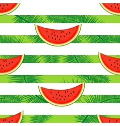 Slices of watermelon on a striped background vector image