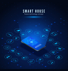 Smart house concept smartphone with house circuit vector