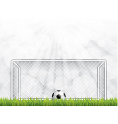 Soccer ball on grass in front of goal post vector