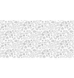 social media sketch seamless doodle pattern vector image