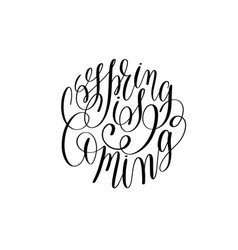 spring black and white hand written lettering vector image