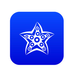 starfish icon digital blue vector image