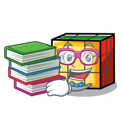 Student with book rubik cube mascot cartoon vector