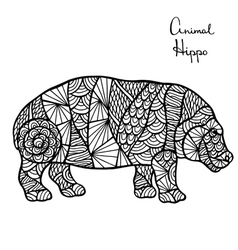 Stylized Hippo zentangle isolated on white vector