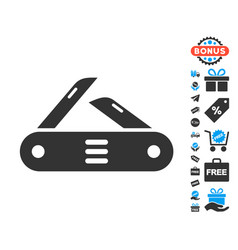 Swiss multitool knife icon with free bonus vector