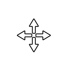 symbol arrows line icon black on white vector image