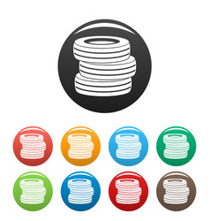 tire fitting icons set color vector image