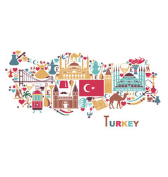 traditional tourist symbols turkey in form vector image