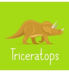 Triceratops dinosaur colorful card vector image