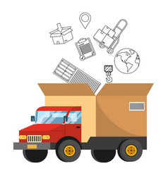 Truck with a big box in back vector