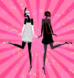 two girls dancing vector image
