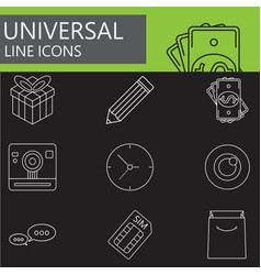 Universal line icons set web outline sign vector