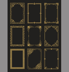 vintage frames collection golden borders isolated vector image