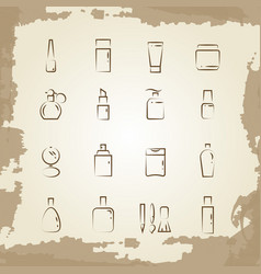 vintage line icons cosmetics bottles and vector image