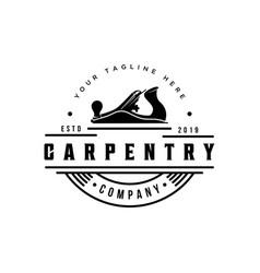 vintage logo for wood workingcarpentry logo vector image