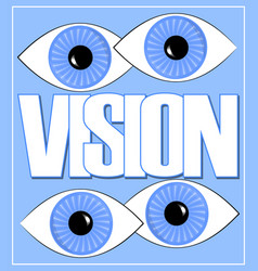 Vision label or banner with white letters and two vector