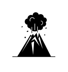 Volcano silhouette icon in flat style vector