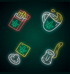 Weed products neon light icons set cbd cigarettes vector