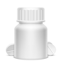 White medicine pill bottle vector