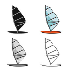 Windsurf board icon in cartoon style isolated on vector