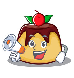 With megaphone pudding character cartoon style vector