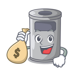 With money bag steel trash can with lid cartoon vector