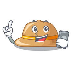 With phone cork hat isolated on the mascot vector