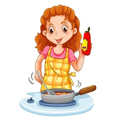 Woman cooking with a pan vector
