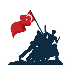 Zafer bayrami soldiers with flag vector