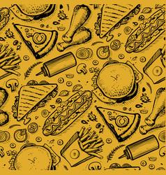 Fast food hand drawn vintage pattern vector