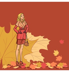 Girl and autumn leaves vector image