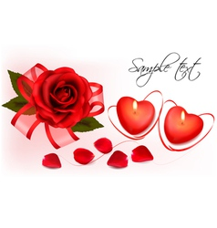 red roses and two heart candles vector image vector image