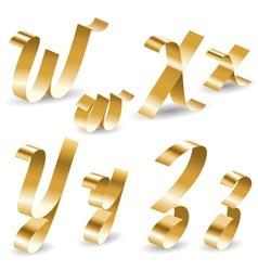 Ribbon alphabet W X Y Z vector image