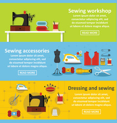 Sewing tools banner horizontal set flat style vector