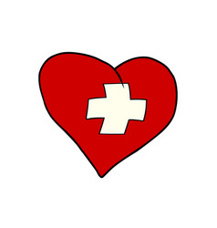 switzerland heart patriotic symbol vector image vector image