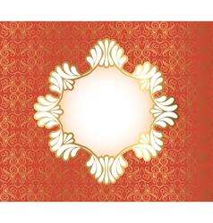 Vintage frame on damask background vector image vector image