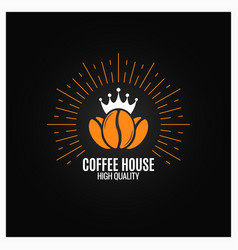 coffee beans logo on black background vector image