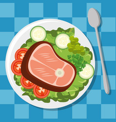 fresh and delicious lunch vector image