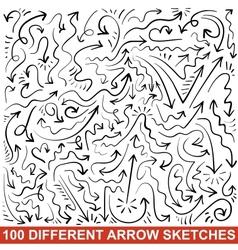 Set of hand drawn arrow sketches black graphic vector