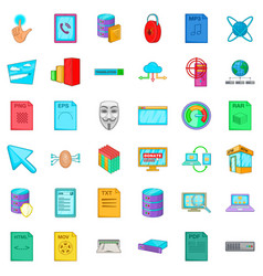 different file icons set cartoon style vector image vector image