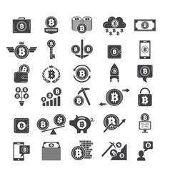 monochrome symbols of virtual money electronic vector image vector image