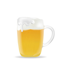 beer mug with foam on white background vector image