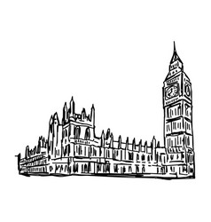 big ben and house of parliament vector image vector image