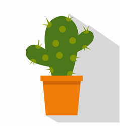cactus flower in pot icon flat style vector image