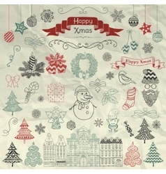 Hand Drawn Artistic Christmas Doodle Icons on vector image vector image