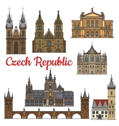 Travel landmarks and monuments of Czech Republic vector image