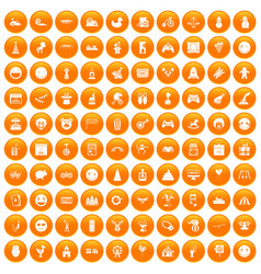 100 funny icons set orange vector